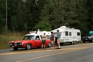 Ambulance and Camper Set Up on Hwy 6