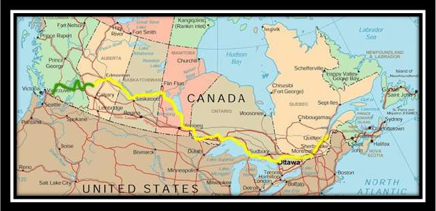 Canoe Route of Canadian Voyageurs