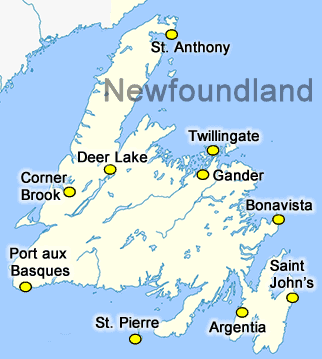 Map Of Corner Brook Newfoundland Canada Newfoundland Map   Canada Travel   eh Canada Travel
