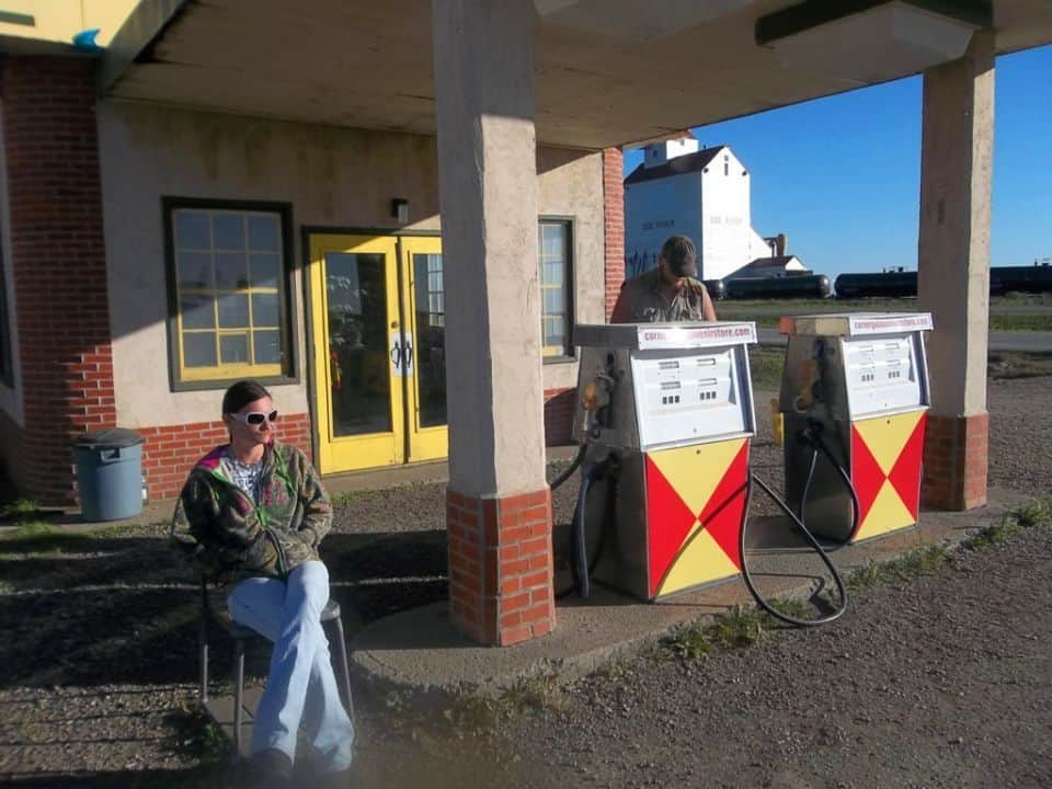 Relaxing as the Gas Attendant on the set of Corner Gas.<br />Rouleau, (AKA Dog River) Saskatchewan