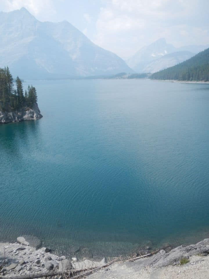 Upper Kananaskis Lake, Alberta. On a beautiful August day. Super smokey from all the forest fires over the summer.