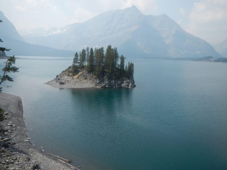 On the hiking trails around Upper Kananaskis Lake, Alberta. Smokey day from forest fires. We were headed to Rawson Lake. But broke a fishing rod so didn't get that far haha