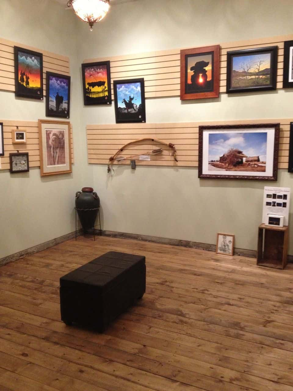 We are fortunate to have space for a gallery where we promote local artists.  We have paintings, carvings, photography, bead work, scratch board.  This is a great platform for the artists to show off their talents to the world.