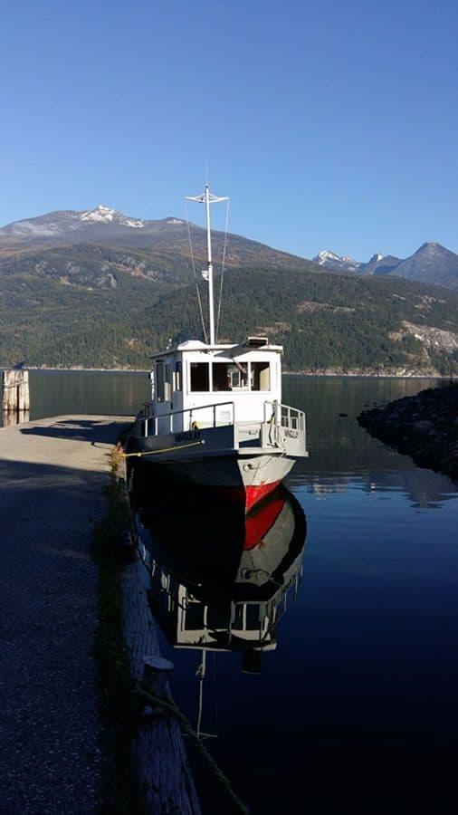 Mingulay docked in Kaslo. Mt. Kaslo in the background.