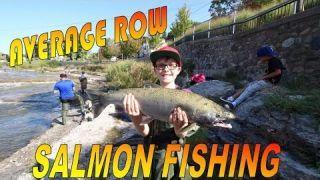 Salmon fishing on the Ganaraska river in Port Hope Ontario Canada 2016 Salmon Run