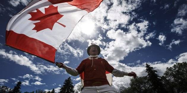 Canada Day 20180701 - Henry Stephens celebrates Canada day in Edmonton Alta, on Sunday July 1, 2018.THE CANADIAN PRESS/Jason Franson