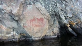 Awesome Ancient Pictographs found Canoeing